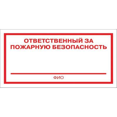 Знак безопасности  Ответственный за пожарную безопасность F21 (200х100 мм, пластик)