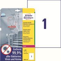 Этикетки противовирусные самоклеящиеся Avery Zweckform (L8011-10) А4 210x297 мм 1 штука на листе прозрачные (10 листов в упаковке)
