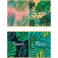 Тетрадь общая Проф-пресс Тропические листья А5 36 листов в клетку на скрепке (обложка в ассортименте)