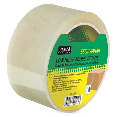 Клейкая лента упаковочная Attache Selection 50 мм x 66 м 48 мкм прозрачная (бесшумная)