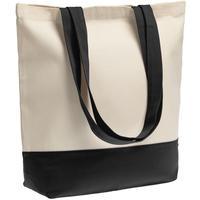 Сумка для покупок Shopaholic бежевая/черная (43.5x40.5x14 см)