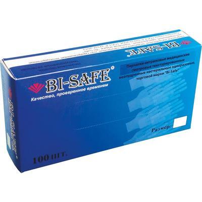 Перчатки медицинские смотровые нитриловые Bi-Safe нестерильные неопудренные голубые размер L (100 штук в упаковке)