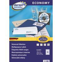 Этикетки самоклеящиеся Europe (ELA001) 38х21,2 мм 65 штук на листе белые  (100 листов в упаковке)
