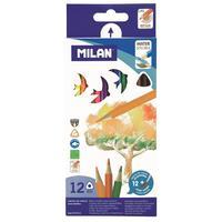 Карандаши цветные акварельные Milan 12 цветов трехгранные