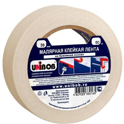 Клейкая лента малярная Unibob белая 38 мм х 50 м (бумажная, легкоудаляемая)