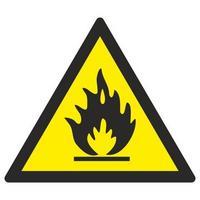 Знак безопасности Пожароопасно. Легковоспламеняющие вещества W01 (200х200 мм, пленка ПВХ)