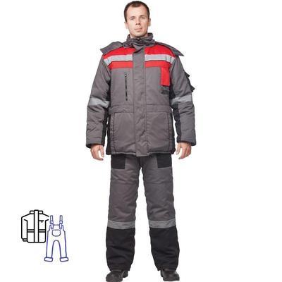 Костюм рабочий зимний мужской з33-КПК с СОП серый/красный (размер 44-46, рост 170-176)