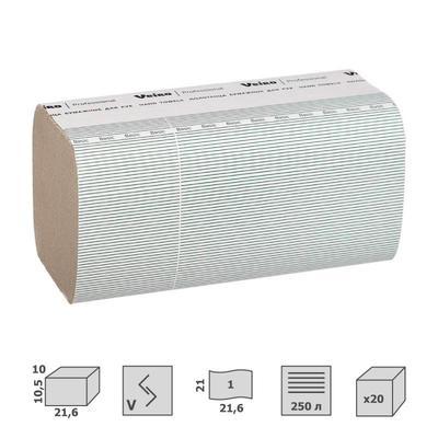 Полотенца бумажные листовые Veiro Professional F1 Basic V-сложения 1-слойные 20 пачек по 250 листов (артикул производителя KV104)