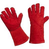 Краги сварщика спилковые утепленные пятипалые красные
