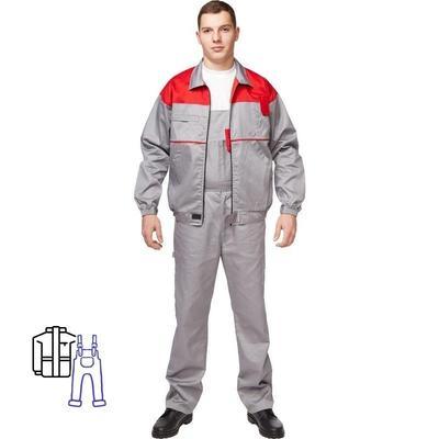Костюм рабочий летний мужской Универсал-КПК серый/красный (размер 52-54, рост 170-176)