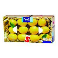 Носовые платочки бумажные Bella №1 2-слойные с запахом лимона (100 штук  в упаковке)