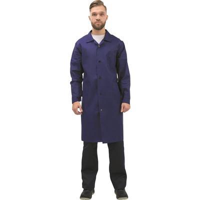 Халат рабочий мужской у02-ХЛ синий (размер 60-62, рост 182-188)