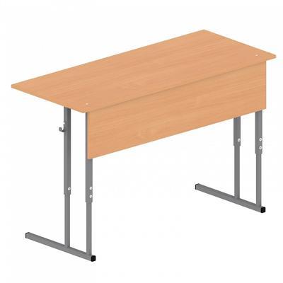 Стол ученический двухместный МЕТ (бук/серый, рост  4-6)