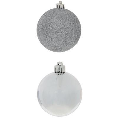Набор елочных шаров пластик серебристый (диаметр 3 см, 20 штук в  упаковке)