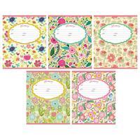 Тетрадь школьная Проф-пресс Цветочный орнамент А5 12 листов в линейку (обложка в ассортименте)