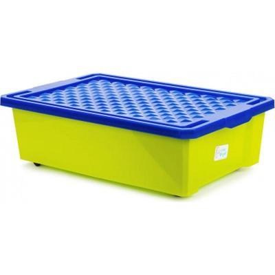Детский ящик Лего 30 л на колесах (фисташковый, 610х405х193 мм)