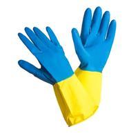 Перчатки латексные Bicolor синие/желтые (размер 8, М)