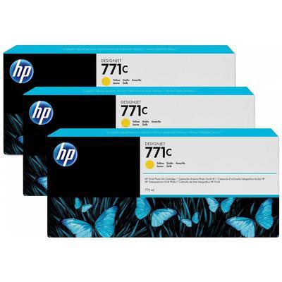 Картридж струйный HP 771C B6Y34A желтый оригинальный 3 штуки в упаковке