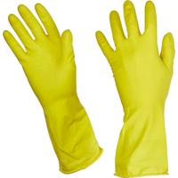 Перчатки латексные Paclan Practi с хлопковым напылением желтые (размер 9, L)
