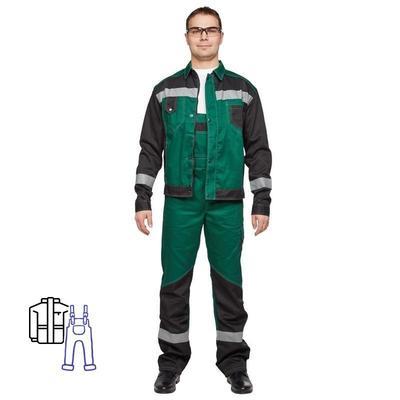 Костюм рабочий летний мужской л21-КПК с СОП зеленый/черный (размер 56-58, рост 170-176)
