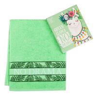 Полотенце махровое Этель Queen Llama зеленое (30x70 см)