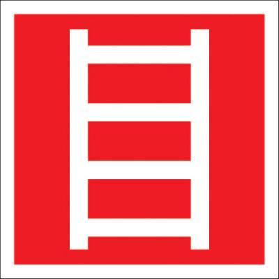 Знак безопасности Пожарная лестница (200x200 мм, пластик)