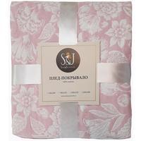 Покрывало S&J Цветы жаккард 140х200 см розовое