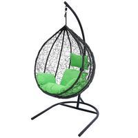 Кресло подвесное Belk Сфера Veil коричневое/салатовое (искусственный ротанг/сталь)