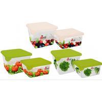 Набор контейнеров для продуктов Браво квадратные пластиковые 2 штуки (артикул производителя GR1071МИКС)