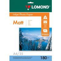 Фотобумага для цветной  струйной печати Lomond односторонняя (матовая, А4, 180 г/кв.м, 25 листов, артикул производителя 0102037)