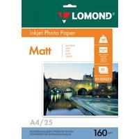 Фотобумага для цветной  струйной печати Lomond односторонняя (матовая, А4, 160 г/кв.м, 25 листов, артикул производителя 0102031)