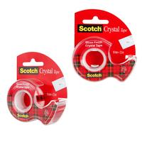 Клейкая лента канцелярская Scotch Crystal прозрачная 19 мм х 7.5 м (с диспенсером)