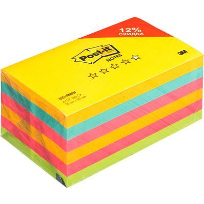 Стикеры Post-it Радуга плюс 76x127 мм неоновые 4 цвета (6 блоков по 100 листов)
