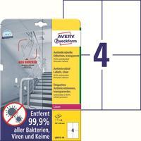 Этикетки противовирусные самоклеящиеся Avery Zweckform (L8013-10) 105x148 мм 4 штуки на листе прозрачные (10 листов в упаковке)