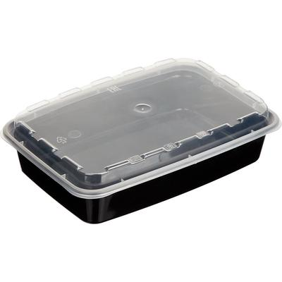 Одноразовый пластиковый контейнер Аэроснаб для вторых блюд 830 мл черный (150 штук в упаковке)
