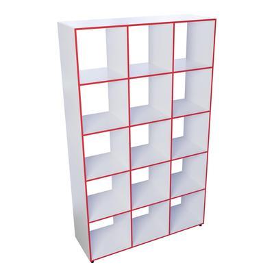 Шкаф открытый Точка Роста ТР15 многосекционный (белый/красный, 1120х350х1850 мм)