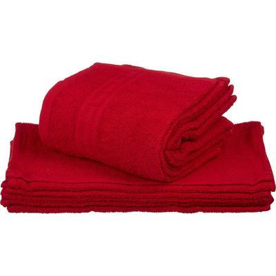 Полотенце махровое Ocean 30х50 см 380 г/кв.м красное 10 штук в упаковке