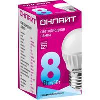 Лампа светодиодная ОНЛАЙТ OLL-G45-8-230-4K-E27 8Вт Е27 4000К 71627