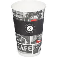 Стакан одноразовый бумажный 400 мл черный 18 штук в упаковке Huhtamaki Cafe Noir