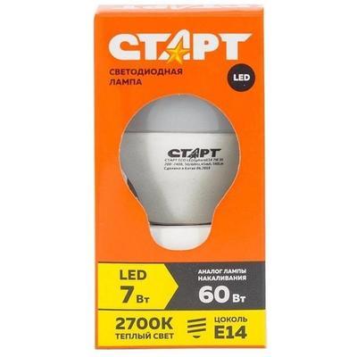 Лампа светодиодная Старт ECO 7 Вт E14 шаровидная 2700K теплый белый свет