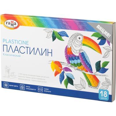 Пластилин классический Гамма Классический 18 цветов со стеком 360 г