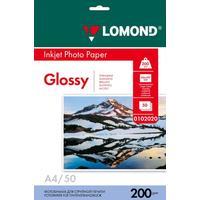 Фотобумага для цветной  струйной печати Lomond односторонняя (глянцевая, А4, 200 г/кв.м, 50 листов, артикул производителя 0102020)