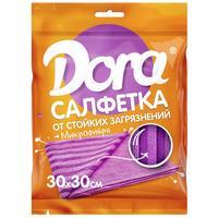 Салфетка хозяйственная Dora микрофибра 30х30 см сиреневая