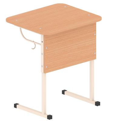 Стол ученический одноместный Студент с закругленными углами и регулируемым наклоном столешницы (бук/бежевый, рост 4-6)
