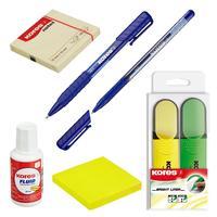 Набор офисный Kores (блок-кубик 2 штуки, корректирующая жидкость, ручка 2 штуки, маркер)