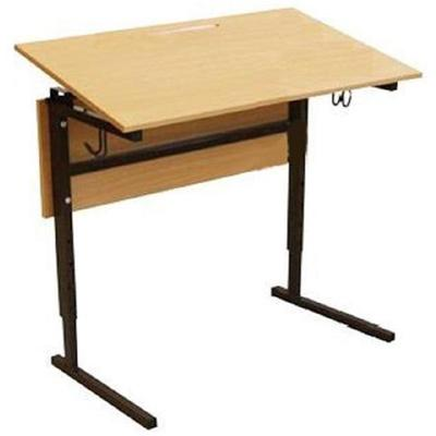 Стол ученический одноместный Березка с регулируемым наклоном столешницы (коричневый/бук, рост 2-4)