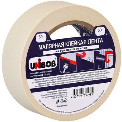 Клейкая лента малярная Unibob белая 30 мм х 50 м (бумажная, легкоудаляемая)