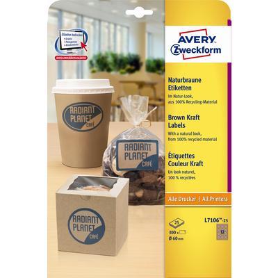 Этикетки самоклеящиеся Avery Zweckform крафт-бумага коричневые диаметр 60 мм (12 штук на листе А4, 25 листов, артикул производителя L7106-25)