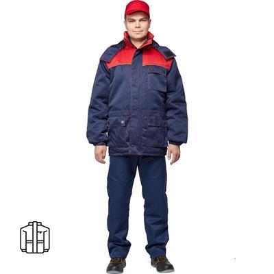 Куртка рабочая зимняя мужская з08-КУ с синий/красный (размер 52-54 рост 182-188)