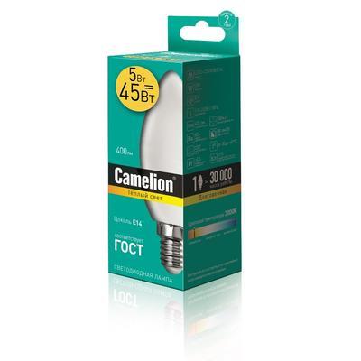 Лампа светодиодная Camelion 5 Вт E14 свеча 400 К теплый белый свет